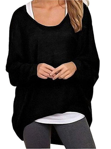 Uget Women's Casual Oversized Baggy Off-Shoulder Shirts Pullover Tops Asia L Black