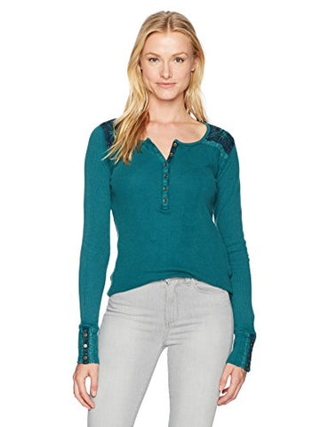 Lucky Brand Women's Embroidered Thermal Top, Shaded Spruce, Small