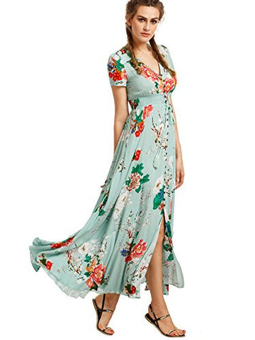 Milumia Women's Button Up Split Floral Print Flowy Party Maxi Dress Light Green M