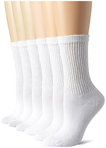 Hanes Women's Comfort Blend Crew Sock, White, Shoe size 5-9/Sock Size 9-11 (Pack of 6)