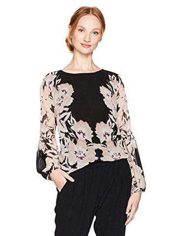 Calvin Klein Women's Peasant Sleeve Blouse, Blush/Black, M