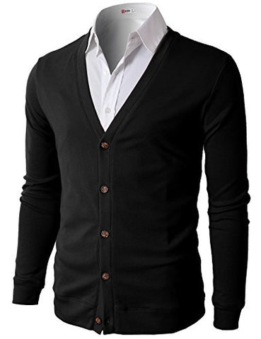 H2H Mens Button Down V Neck Cardigans BLACK US L/Asia XL (CMOCAL012)