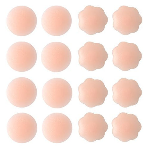Thin Pasties for Women - Reusable Adhesive Silicone Nipple Skin Covers (4 Pairs Round+4 Pairs Flower)