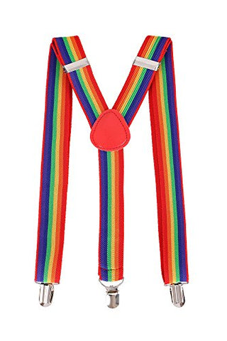 Livingston Cosplay Party Accessory Adjustable Elastic Suspenders for Men,Rainbow