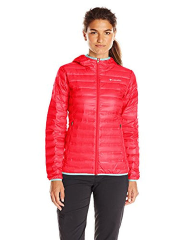 Columbia Women's Flash Forward Hooded Down Jacket, Red Camellia/Spray, Large