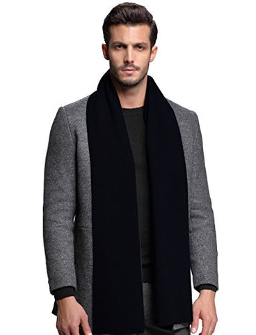 Men Cashmere Scarf Winter Scarves by FULLRON - Warm / Long Black Scarf for Men