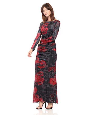 Adrianna Papell Women's Long Sleeve Velvet Burnout Floral Gown, Cardinal/Black Multi, 4