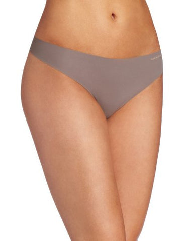 Calvin Klein Women's Invisibles Thong Panty, French Roast, Small