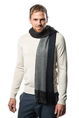 Winter Knit Scarf for men, Fashion Stripe Scarve in an elegant gift box - Multi Grey