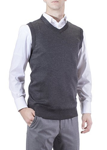 J.Korn Men's Solid Color V-Neck Sweater Vest SVS50 (XXLarge Charcoal Gray)