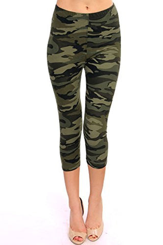 Regular Size Printed Brushed Capris (Green Army Camouflage)