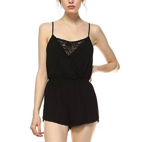 Fashionazzle Women's Spaghetti Strap Surplus Romper with Lace (Large, WPR04-Black)