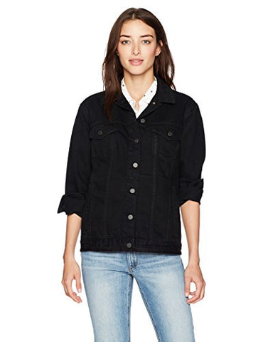 French Connection Women's Slouchy Western Denim Jacket, Black, S