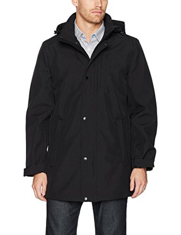 Nautica Men's Stretch Hooded Softshell Commuter Jacket, Black, M