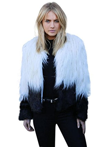 Choies Two Tone Shaggy Faux Fur Coat Middle