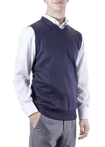 J.Korn Men's Solid Color V-Neck Sweater Vest SVS50 (Meidum Navy)