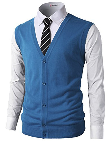 H2H Mens Fashion Slim Fit Knitted V-Neck Button-Down Vests Of Various Colors STEELBLUE US M/Asia L (CMOV038)