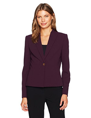 Calvin Klein Women's Scuba Crepe One Button Jacket, Aubergine, 16