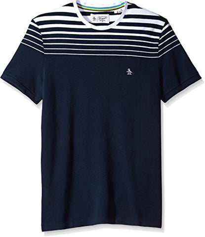 Original Penguin Men's Short Sleeve Gradient Stripe Tee, Dark Sapphire, Medium
