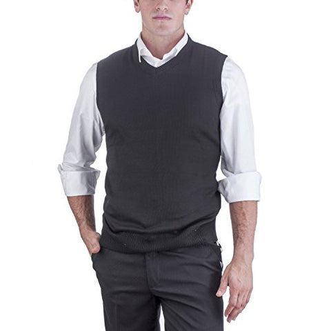 Alberto Cardinali Men's Solid Color V-Neck Sweater Vest SVS1 (XLarge, Black)