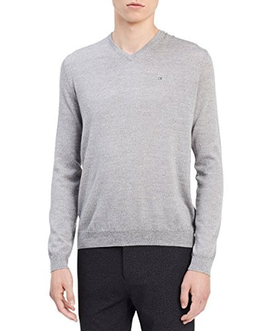 Calvin Klein Men's Merino Solid V-Neck Sweater, Schio Grey, Large