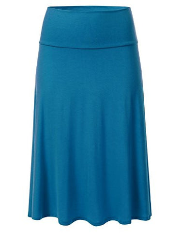 FLORIA Womens Solid Lightweight Knit Elastic Waist Flared Midi Skirt TEAL S