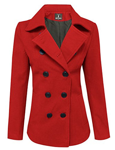 Tom's Ware Womens Trendy Double Breasted Wool Pea Coat TWCWC06-RED-S