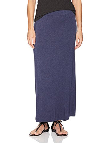 Kensie Women's Visoce Spandex Maxi Skirt, Heather Navy, S