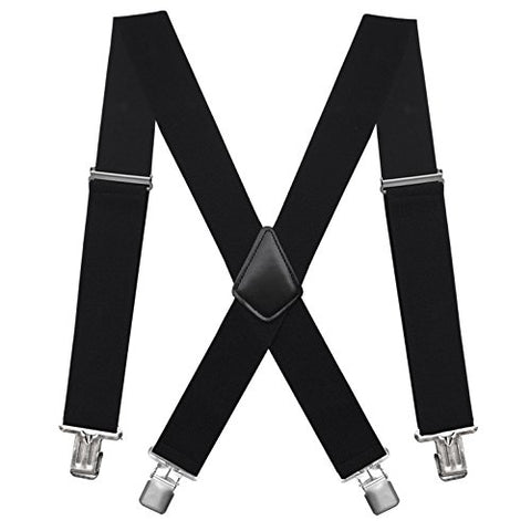 "Fasker Mens Suspenders X-Back 2"" Wide Adjustable Solid Straight Clip Suspenders"