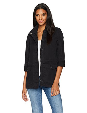 Lucky Brand Women's Imported Utility Jacket, Washed Black, Medium