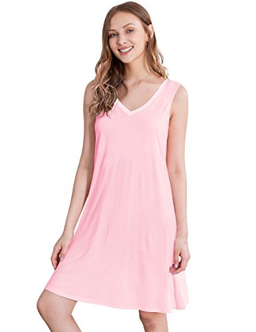 GYS Womens Bamboo Viscose Sleeveless V Neck Nightgown (M, Pink)