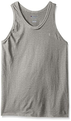 Champion Men's Classic Jersey Ringer Tank Top, Oxford Gray, XL