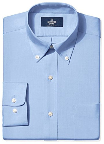 "Buttoned Down Men's Classic Fit Button-Collar Non-Iron Dress Shirt, Blue, 16.5"" Neck 35"" Sleeve"