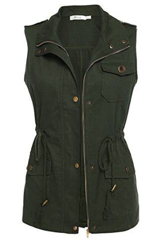 Meaneor Womens Lightweight Sleeveless Military Anorak Vest, Small, Army Green