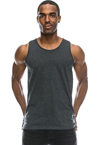 Mens Hipster Hip Hop Basic Casual Solid CHARCOAL Tank Top XL