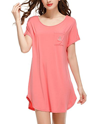 Sissely Women's Soft Tee Sleep Shirts Nightwear Dress(Watermelon Red,L)