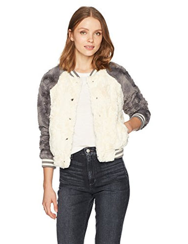 Jack by BB Dakota Women's Aisen Swirly Faux Fur Color Blocked Bomber Jacket, Ivory, X-Small