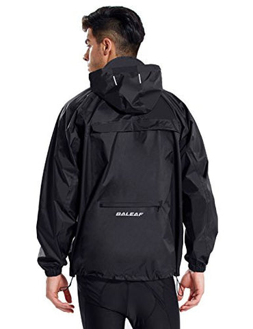 Baleaf Unisex Packable Outdoor Waterproof Rain Jacket Hooded Raincoat Poncho Black Size L