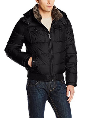 Tommy Hilfiger Men's Nylon Hooded Puffer Bomber Jacket, Black, Medium