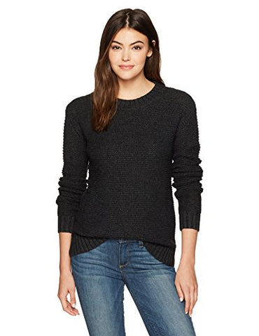 Pendleton Women's Textured Crew Neck Pullover Sweater, Charcoal Heather, LG