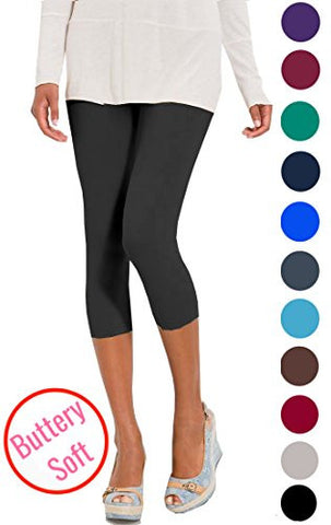 Lush Moda Extra Soft Capri Leggings - Variety of Colors - Charcoal