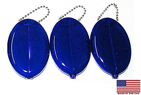 Oval Rubber Coin Purse Change Holder With Chain By Nabob ( 3 Value Pack,Blue )