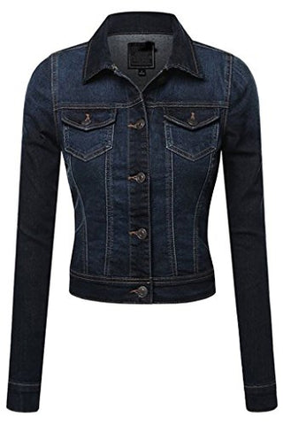 Fashion Boomy Women's Button Down Long Sleeve Classic Outerwear Denim Jacket