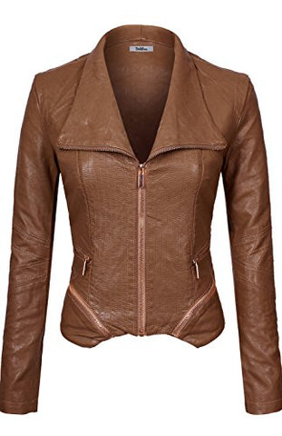 BodiLove Women's Slim Tailoring Faux Leather Zip Up PU Bomber Jacket Camel M