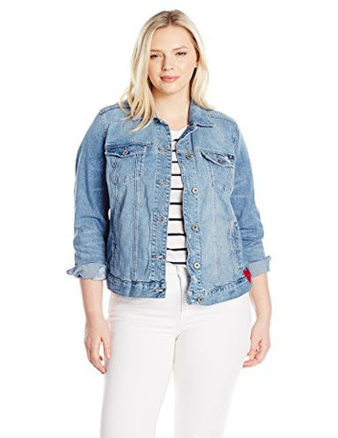 Lucky Brand Women's Plus Size Classic Denim Jacket, Constitution, 1X