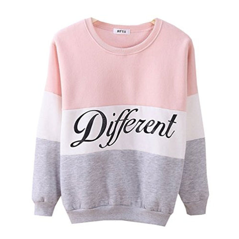 Cute Hoodies Sweater Pullover Double Deer Geometric Printed Medium Pink