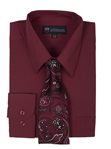 Milano Moda Men's Long Sleeve Dress  With  Tie And Handkie SG21A-Burgundy-17-17 1/2-34-35