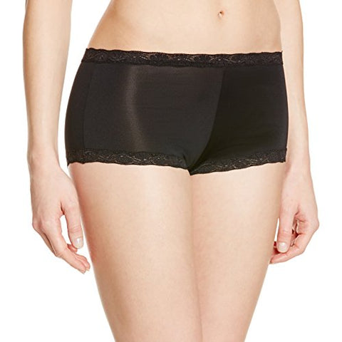 Maidenform Women's Microfiber with Lace Boyshort PantyBlack5/Small