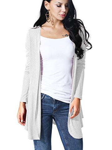 JayJay Women Open Front Casual Knit Long Sleeve Sweater Classic Cover Up Cardigan,WHITE,L