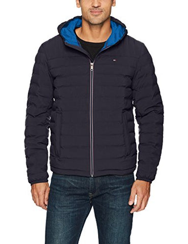 Tommy Hilfiger Men's Ultra Loft Quilted Stretch Hooded Puffer Jacket, Navy, Small